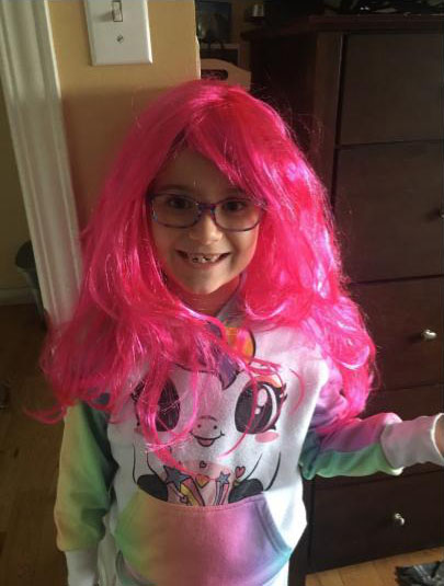 Girl with pink wig